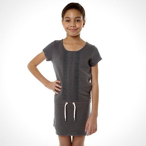 Mantaray - Girl+s dark grey lace sweat dress