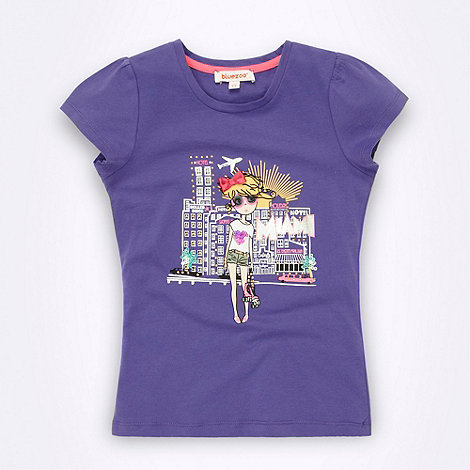 bluezoo - Girl's purple illustration printed top