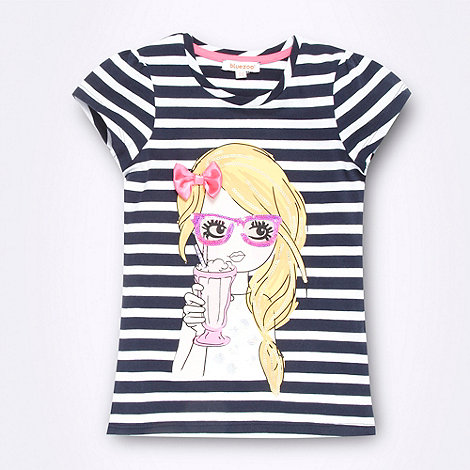 bluezoo - Girl+s navy striped girl printed t-shirt