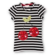 Girl's black striped cherry motif t-shirt