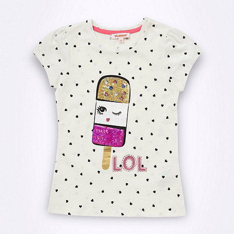 bluezoo - Girl+s cream sequinned lolly motif top