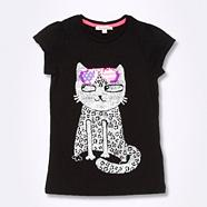Girl's black cat in sunglasses t-shirt