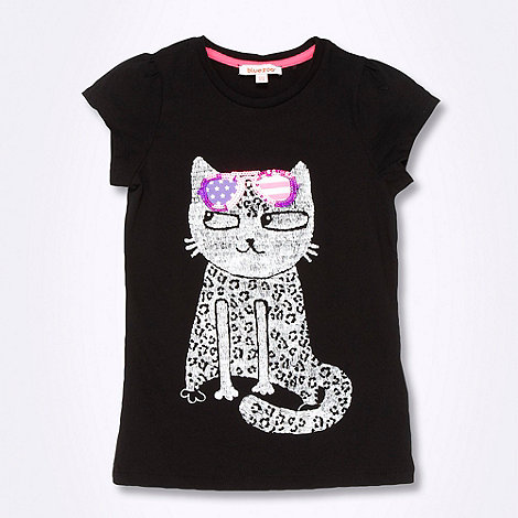 bluezoo - Girl's black cat in sunglasses t-shirt