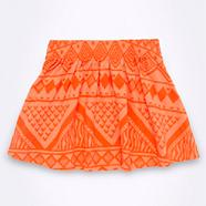 Girl's bright orange aztec print skater skirt
