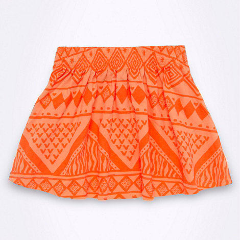 bluezoo - Girl+s bright orange aztec print skater skirt