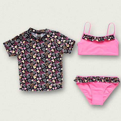 Pineapple - Girl+s black three piece heart swim set