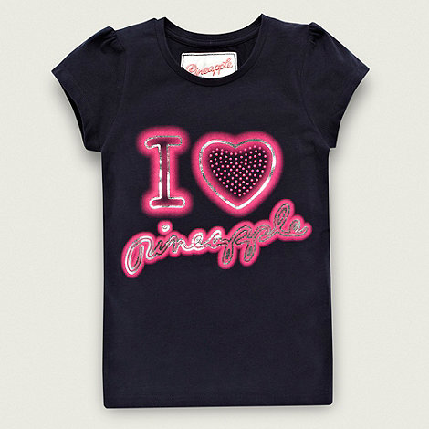 Pineapple - Girl+s navy heart logo t-shirt