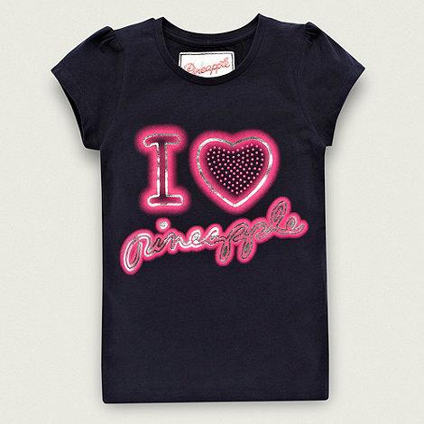 Pineapple - Girl+s navy heart logo t-shirt