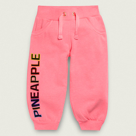 Pineapple - Girl+s neon pink cropped joggers