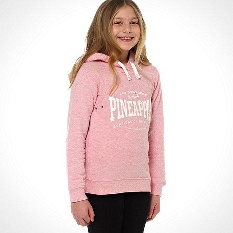 Pineapple - Girl+s pale pink heritage logo hoodie