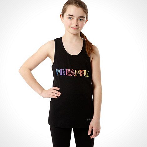Pineapple - Girl+s black ribbed vest