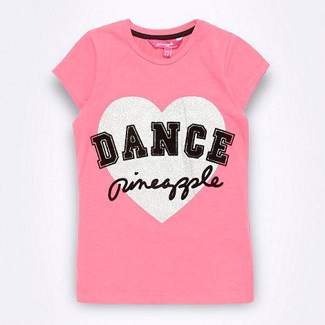 Pineapple - Girl+s pink glitter heart t-shirt