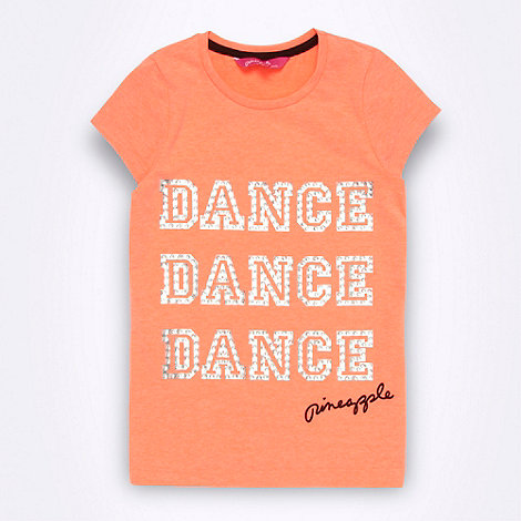 Pineapple - Girl+s coral diamante slogan motif t-shirt