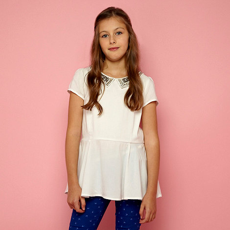 J by Jasper Conran - Designer girl+s white sequinned collar top