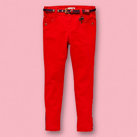 J by Jasper Conran - Designer girl+s red belted skinny jeans