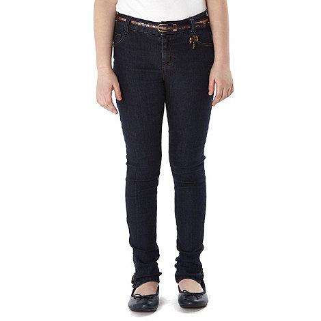 J by Jasper Conran - Designer girl+s blue glitter belt skinny jeans