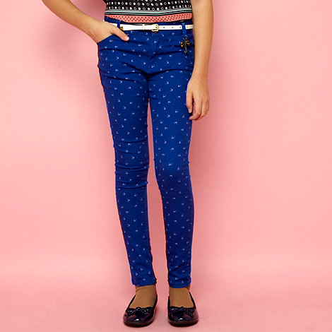 J by Jasper Conran - Designer girl+s blue bird print skinny jeans