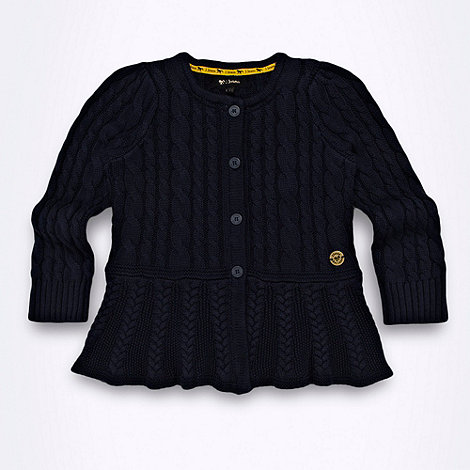 J by Jasper Conran - Designer girl+s navy cable knitted peplum cardigan