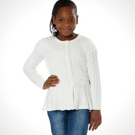 J by Jasper Conran - Designer girl's off white cable knitted peplum cardigan