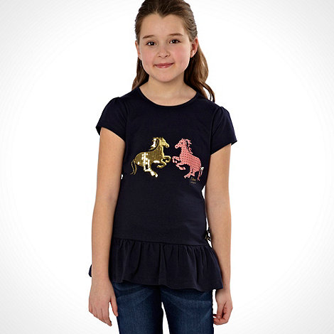 J by Jasper Conran - Girl+s navy horse motif top