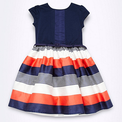 J by Jasper Conran - Designer girl+s navy striped skirted dress