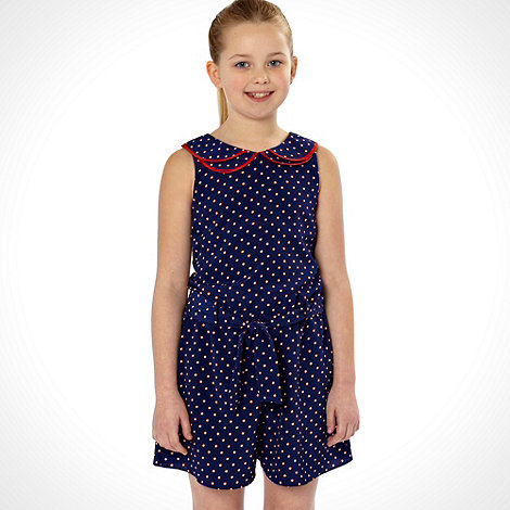 J by Jasper Conran - Designer girl's blue peterpan collar woven playsuit