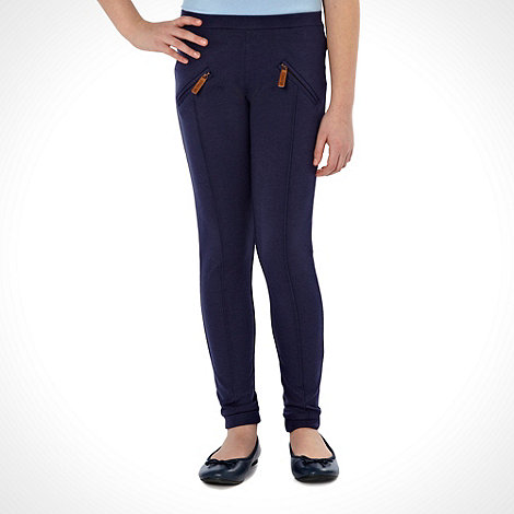 J by Jasper Conran - Designer girls+ navy zipped mock-pocket jodhpurs