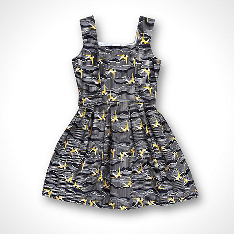 J by Jasper Conran - Designer girl+s navy bird patterned prom dress
