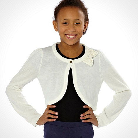 J by Jasper Conran - Designer girl+s off white bolero cardigan