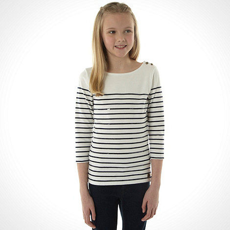 J by Jasper Conran - Designer girl+s off white breton striped top