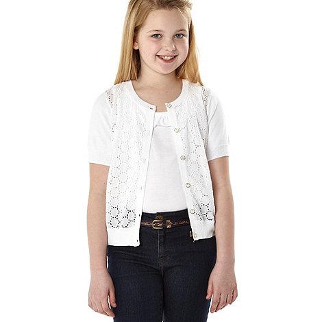 J by Jasper Conran - Designer girl+s white broderie cardigan