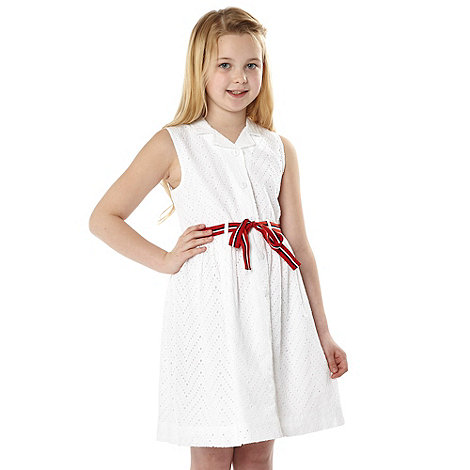 J by Jasper Conran - Girl+s white sleeveless broderie dress