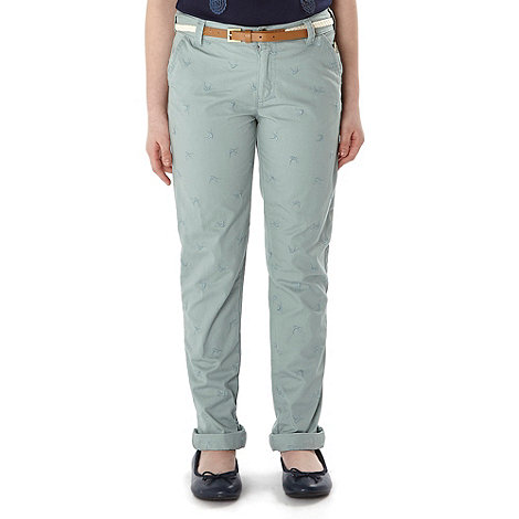 J by Jasper Conran - Designer girl+s aqua embroidered bird chinos