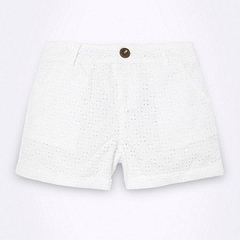 J by Jasper Conran - Designer girl+s white broderie shorts