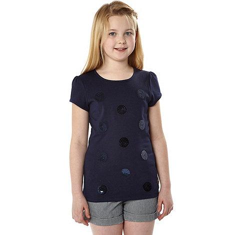 J by Jasper Conran - Designer girl+s navy sequin circle t-shirt