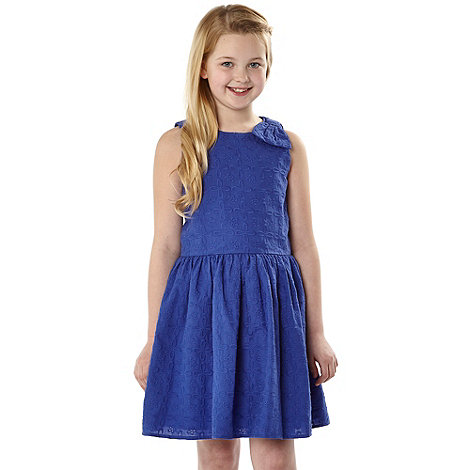 J by Jasper Conran - Designer girl+s blue broderie dress