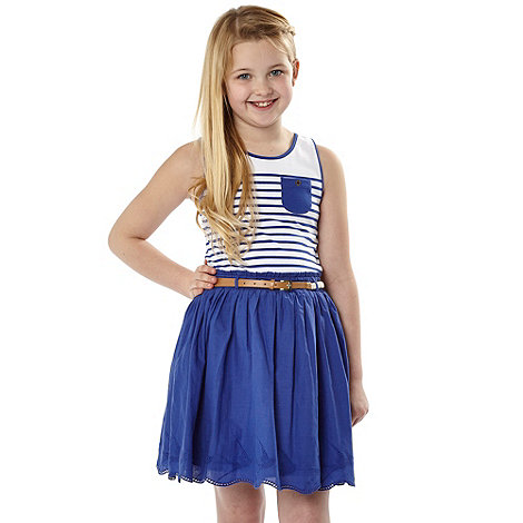 J by Jasper Conran - Designer girl+s blue striped dress
