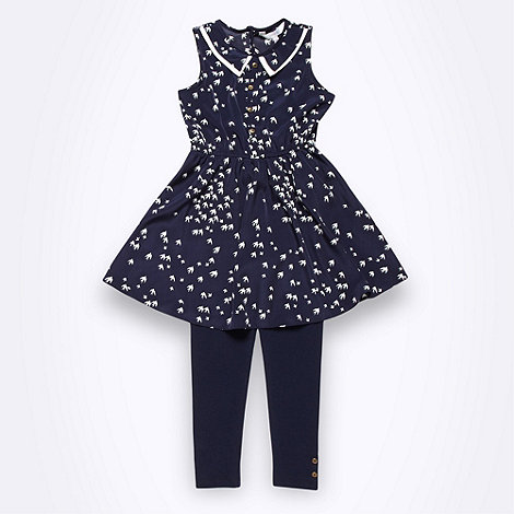 J by Jasper Conran - Designer girl+s navy bird tunic and leggings set