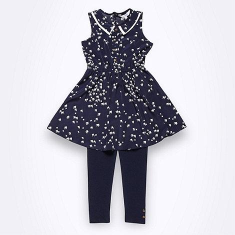 J by Jasper Conran - Designer girl+s navy bird tunic and leggings set