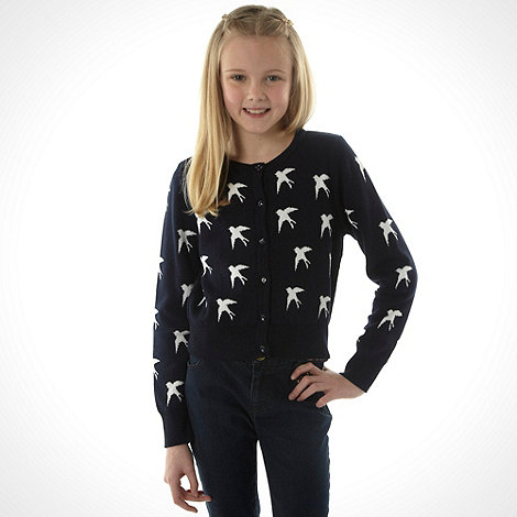 J by Jasper Conran - Girl+s black swallow printed cardigan