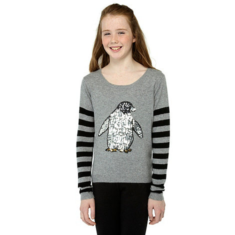 Donna & Markus by Markus Lupfer - Designer girl+s grey sequinned penguin knitted jumper