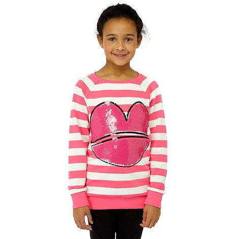 Donna & Markus by Markus Lupfer - Designer girl+s pink sequin lips striped sweatshirt