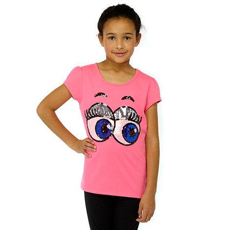 Donna & Markus by Markus Lupfer - Designer girl+s pink sequin eyes t-shirt