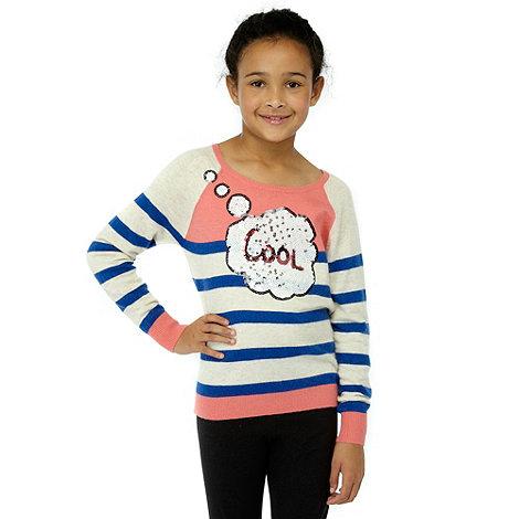 Donna & Markus by Markus Lupfer - Designer girl+s coral striped +cool+ knitted jumper