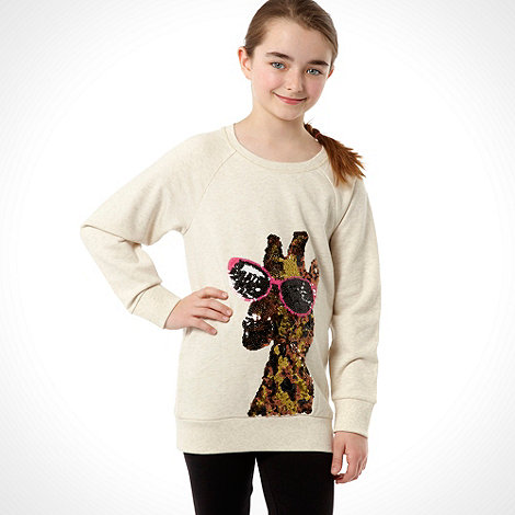Donna & Markus by Markus Lupfer - Designer girl's cream giraffe sequin long sleeved sweat