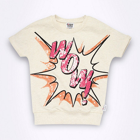 Donna & Markus by Markus Lupfer - Designer girl+s natural explosive slogan motif short sleeved sweat