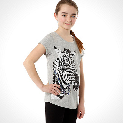 Donna & Markus by Markus Lupfer - Designer girl+s grey sequin zebra t-shirt