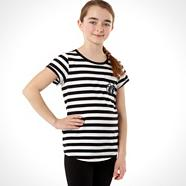 Designer girl's black striped eyes t-shirt
