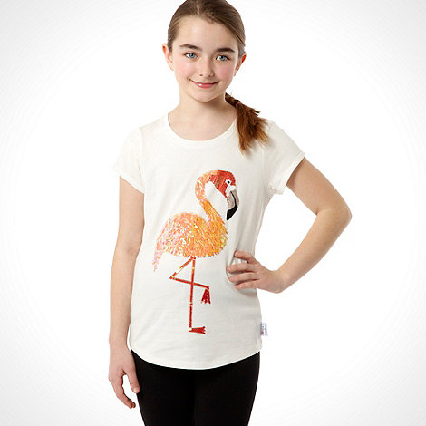 Donna & Markus by Markus Lupfer - Designer girl+s white flamingo t-shirt