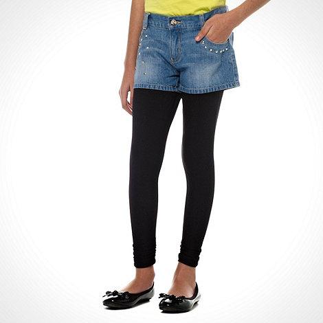 Butterfly by Matthew Williamson - Designer girl+s blue studded denim shorts and black leggings